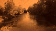 River in Sepia Tone with Old Paper Texture Stock Footage