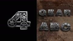 Mechanical alphabet with rotate gears. Alpha Matted Stock Footage