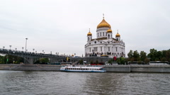 Walking by the Moscow river Stock Footage