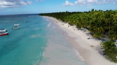 Saona Island Beach aerial view Stock Footage
