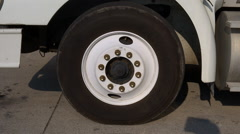 Truck Driving Away Tire CU Stock Footage