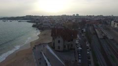 Portugal Lisbon's Coast Estoril beach and fortified mansion Stock Footage