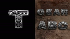 Stock Video Footage of mechanical alphabet with rotate gears. Alpha Matted