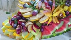 Big dish with different fruits Stock Footage