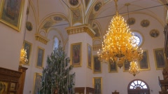 A Golden Looking Chandelier and High Dome Ceiling With Impressive Images of Old Stock Footage