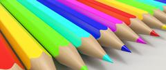 Color pencils in a row - stock illustration