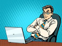 Good businessman at laptop Stock Illustration