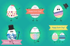 Happy easter with happy eggs Stock Illustration