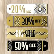 Golden black sale banner template in art deco outline style - stock illustration