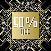 Golden silver sale banner template in art deco outline style - stock illustration