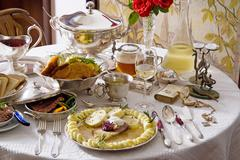Still life of traditional Czech meals and vintage tableware Stock Photos