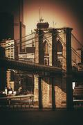 Brooklyn Bridge NYC. Sepia Color Grading. Stock Photos