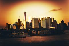 New York City Golden Hour. NYC Sunset. Stock Photos