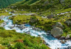 Scenic Alpine Glacier River. Swiss Alps. - stock photo