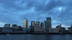 4K Timelapse Canary Wharf in London, Office Financial Center, Business Buildings Arkistovideo