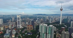Aerial view of tall buildings Kuala Lumpur city in Malaysia Stock Footage