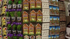 Stock Video Footage of Dutch refrigerator magnets in a tourist shop in Holland the Netherlands 4k