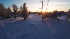 Sunset. Winter landscape. Aerial footage. Stock Footage