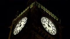 4k Big Ben Close Up Clock Mechanism View, London Nightfall, Touristic Landscape  Stock Footage