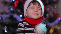 Baby in Santa hats Stock Footage