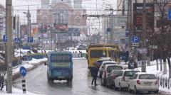 "City traffic near the metro station ""Minska"" in Kyiv. Stock Footage"