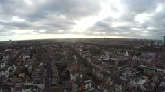 Aerial of Utrecht facing south pan to left showing old city and canal houses 4k Stock Footage