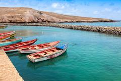 Fisher boats in Pedra Lume harbor in Sal Islands - Cape Verde - Cabo Verde Stock Photos