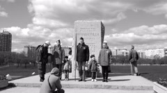 People honor the memory of fallen soldiers in honor of Victory Day May 9, 1945 Stock Footage