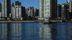 Boat sailing, Vancouver downtown False creek, sunny day Stock Footage