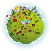 Around the world (summer scenery) - stock illustration
