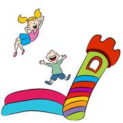 Bounce House Kids - stock illustration