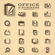 Office and Business engraved icons set Stock Illustration