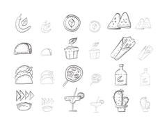 Sketch icons vector collection for mexican food - stock illustration