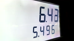 Rising gas prices on station pump scree - stock footage