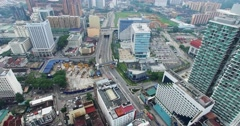 Aerial view of Kuala Lumpur city in Malaysia capital, tall buildings Stock Footage