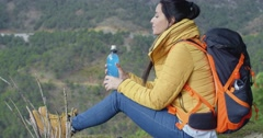 Young female hiker-break for water Stock Footage