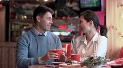 Two people in cafe spending time together Stock Footage