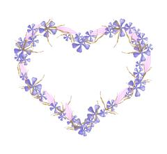 Geranium and Equiphyllum Flowers in A Heart Shape - stock illustration