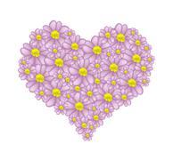 Purple Yarrow Flowers in A Heart Shape - stock illustration