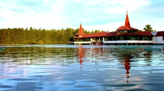 Thermal lagoon in Hungary Stock Footage