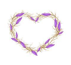 Violet Equiphyllum Flowers in Heart Shape Frame - stock illustration