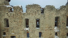 Ruins of the beautiful castle in town of Cesis was a residence of the Livonian Stock Footage