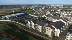 Aerial shoot of country side village in Ireland Stock Footage