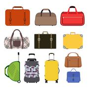 Stock Illustration of Travel bag vector illustration icons collection