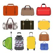 Travel bag vector illustration icons collection - stock illustration