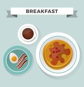 Breakfast flat top view set icons silhouette illustrations - stock illustration