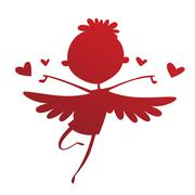 Valentine Day cupid angel cartoon style vector illustration - stock illustration