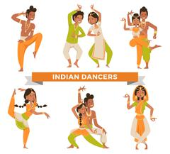 Indian Bollywood couple dancing vector - stock illustration