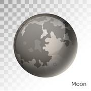 Moon planet 3d vector illustration - stock illustration