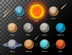 Planets colorful vector set on dark background - stock illustration